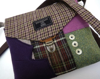 Crossbody Purse iPhone pocket, Recycled mens suit coat , Purple  Green Wool, Eco Friendly,  Back to School, Tote bag