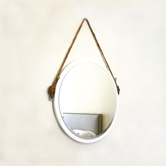 24 round white rope mirror nautical mirror modern by pinkpianos. Black Bedroom Furniture Sets. Home Design Ideas