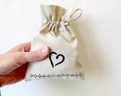 Gift bag, drawstring linen pouch, hand painted hearts, Valentines gift bag, bridal shower favor bag, wedding gift bag, ecofriendly reusable
