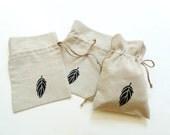 Linen gift bag, drawstring pouch, small reusable eco-friendly bag, hand painted Autumn leaf bag, bridesmaids shower gift linen bag