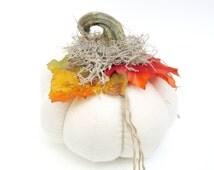Autumn pumpkin, stuffed pumpkin, Thanksgiving harvest, fabric pumpkin, white pumpkin, Autumn home decor, rustic Halloween decor. country