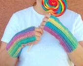 Candy Fingerless Gloves, Multicolor, Unforgettable, Pastel Fingerless Gloves, Crochet Arm Warmers, Fingerless Mittens in Pink, Yellow, Green