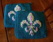 Fleur De Lis Potholders - Fleur De Lys Potholders - Teal  Potholders - Crochet, Crocheted Potholder, Pot Holder, Hot Pad, Kitchen Home Decor