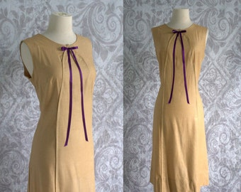 Vintage 1960s Dress Womens 60s Cotton Sleeveless Summer Dress Scooter Style Camel Color Size Medium Large