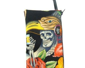 USA Handmade Clutch Purse, Pouch Wristlet Makeup Bag, Cosmetic bag, Red Flower Skeleton CONTIGO Pattern, New, rare