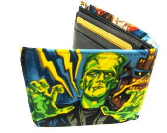 US Handmade Made Monsters Frankenstien Pattern Bi-Fold Men Wallet,  Cotton fabric, New