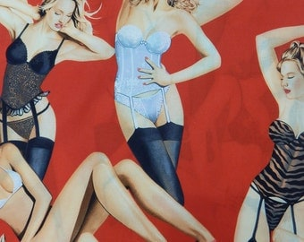 "BOUDOIR, Pin Up Girl 50's Pattern Fabric, Cotton Fabric , 36"" X 44"", 1 Yard, RED Color, New, Rare"