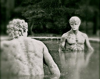 Two Male Statues Water Pool Pond Wading Waist Deep Naked Bare Chest Stone Men Blurred Black and White or Color Art Photography Photo Print