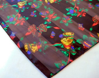Christmas Bells Handkerchief, Black with Bright Holographic Holiday Print, Pocket Square from the 80s