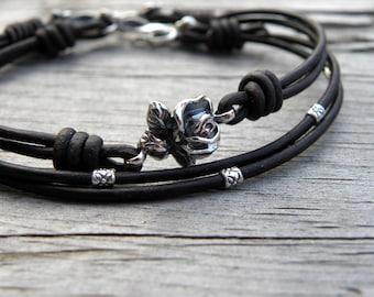 Sterling Silver Rose Leather Bracelet The Little Flower Bracelet