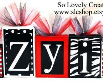 Jazyiah Collection - Minnie Mouse inspired name blocks- Zebra Print and Polka dots- Red, black and White - Price per letter