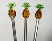 10 Pineapple Wizzle sticks drink stirrers colored glass mixer liquor stirrer bar ware