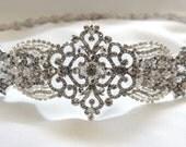 Wedding Dress Gown Crystal Jeweled Belt Embellishment Brooch Sash