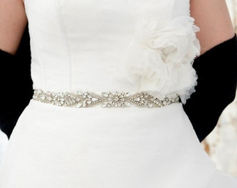 Bridal Gown Dress Jeweled Beaded Crystal  Belt Sash 1""