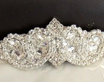 Wedding Garter, Bridal garter, Keepsake Garter, Crystal Applique Garter, crystal applique
