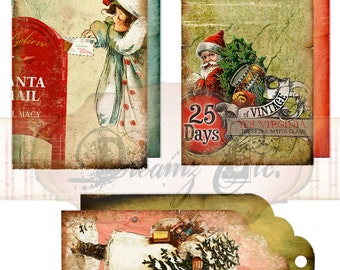 "Digital Christmas Tags ""Old St. Nick"" - Great for Scrapbooking, Journals, Card Making and other Craft Projects"