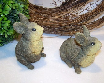 Vintage Brown Bunny Rabbit Pair of Figurines Home Decor