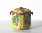Ceramic Japanese Majolica Tea caddy Biscuit Jar Yellow  Fruit Design AS IS