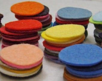 "Wool Felt Circles 1 & 1/2"" choose your own colors and quantity Wool Blend Felt"