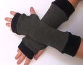 Gray Fingerless gloves long    with black  cuffs