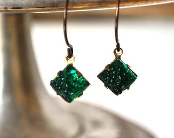 Emerald Green Pressed Glass Diamond Shaped Earrings - Vintage Assemblage