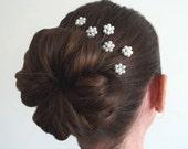White Pearl Florettes - Set of 6 Bobby Pins