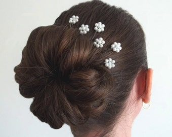 White Pearl Florettes - Set of 6 Bobby Pins