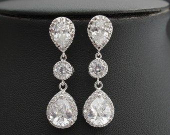 Bridal Earrings Wedding Jewelry Crystal Wedding Earrings Silver Cubic Zirconia Drop Earrings, Emme