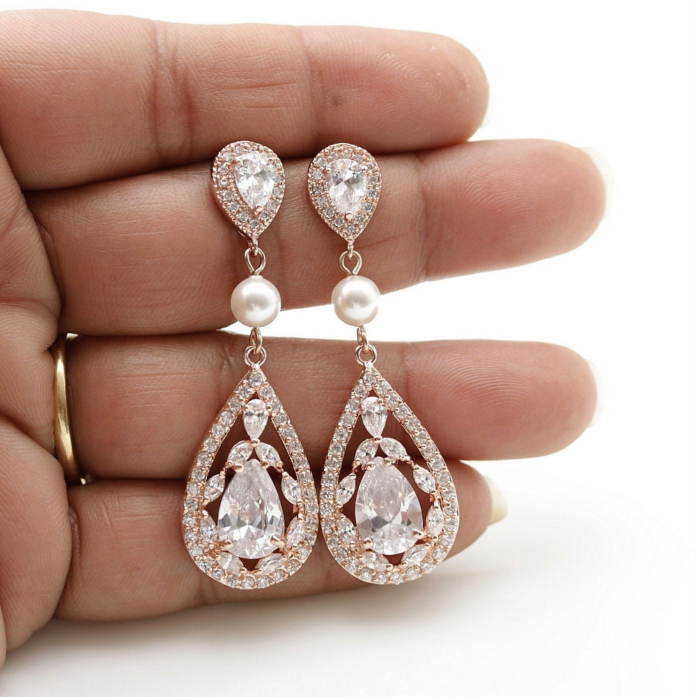rose gold bridal earrings wedding jewelry cubic zirconia pearl. Black Bedroom Furniture Sets. Home Design Ideas