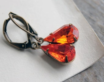 grace kelly. earrings. (lustrous orange. fire yellow. vintage czech glass rinestone jewels. faceted teardrop gem. antique brass. leverback.)