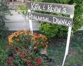 Free Standing Personalized Wood Wedding Sign with Stakes Directional with Base Custom Names Rustic Bridal Rehearsal Dinner