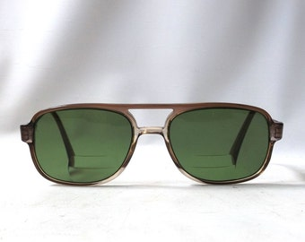 vintage1960's prescription eyeglasses oval plastic frames clear brown green glass lenses rx mid century modern retro eyewear glasses safilo