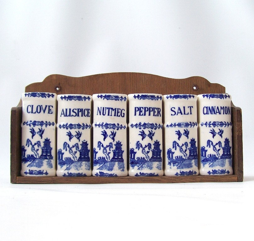 vintage delt blue spice rack ceramic salt and pepper shakers white book decorative home decor