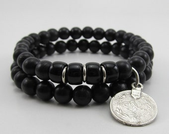 Mens double black wooden beaded stretch bracelets with antique silver metal ottoman charm