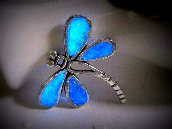 Glow in the Dark Jewelry Glows Pendant Glows Necklace Glows Jewelry Glowing Dragonfly Fairy Jewelry Dragonfly Pendant Blue Dragonfly