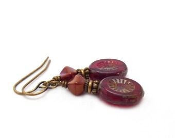 Red Earrings - Picasso Fire-Polished Czech Glass Ovals - Vintage Inspired Dangle Earrings - Boho Jewelry