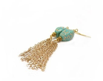 Turquoise & Gold Tassel Earrings, Long Gold Chain Earrings, Czech Glass Beads, Statement Earrings