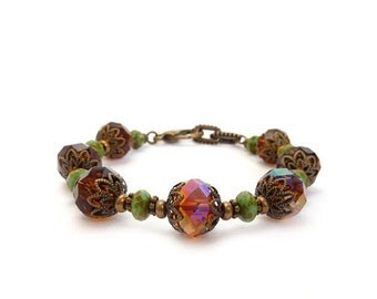 Amber Brown Bracelet - Faceted Crystal - Topaz - Turquoise Picasso Glass - Retro Victorian Style - Gift for Her