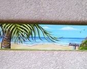 Personalized Beach Scene Plaque Hand Painted on Reclaimed Wood Custom Order