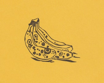 Banana Bunch Clear Polymer Rubber Stamp made from a hand-carved stamp