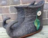Felted Elf  Boots - wet felted curly toed slipper boots - eco friendly