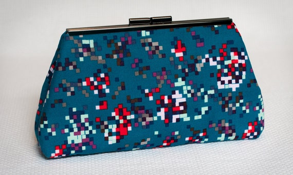 Cutch Handbag Purse - Fabric Clutch - Pixels Squares Motif Purse - Geek Chic Fashionista