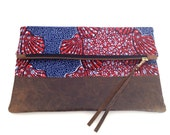 Dutch Wax. Red, White and Blue African Clutch with Distressed Chocolate Brown Leather Bottom