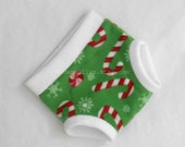 Large Fleece Candy Canes Snowflakes Christmas Underpants/Cloth Pullup/Diaper Cover Soaker, White Green Red