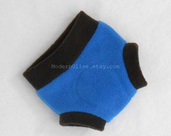 SECONDS SALE Small Anti-Pill Fleece Diaper Cover/Soaker, Cookie Monster Inspired, Dark Brown Electric Blue Solid, Ready to Ship CLEARANCE