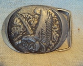 Vintage 1993 Silver Toned Flying Eagle Metal Made in the USA Belt Buckle