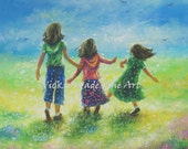 Three Sisters Art Print from Oil Painting, three girls, girls room wall art, three brunette girls, meadow, happy, Vickie Wade Art