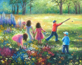 Five Children Playing Art Print five kids, happy kids summer garden wall art, three girls, two boys, happy childhood, Vickie Wade art