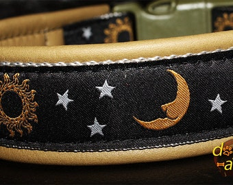 Handmade Easy Release Buckle Leather Dog Collar MOONLIGHT by dogs-art in olive/silver/moonlight