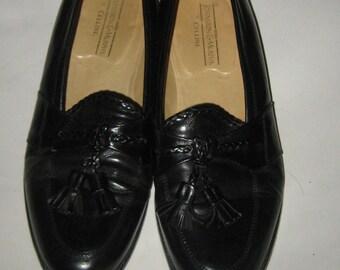 "Vintage ""JOHNSON & MURPHY"" BLACK Leather Tassel Loafers sz 9  1/2"